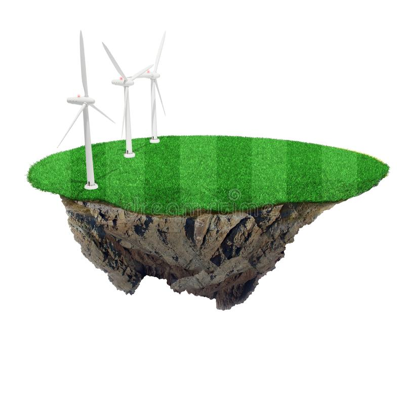 Download 3d Small Island With Green Grass And Windmills Stock Illustration - Illustration of idyllic, life: 22547748