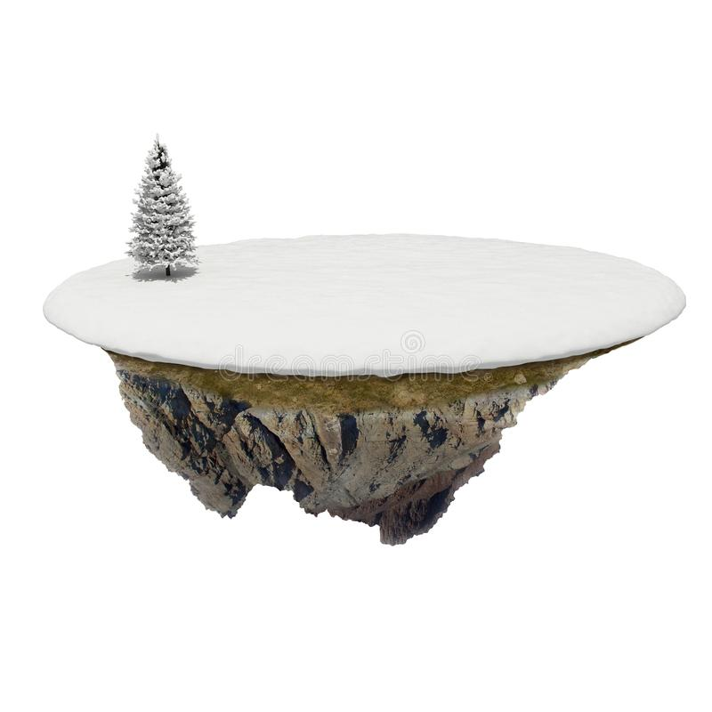 3d Small Island With Snow And Tree Stock Images