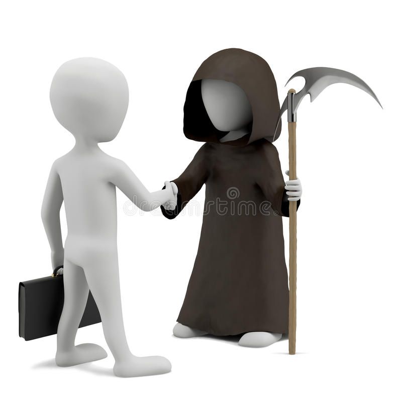 3D small men shaking hands with death. stock illustration