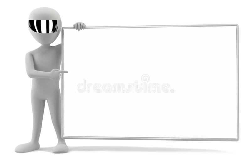 3d small men - your empty board! stock illustration