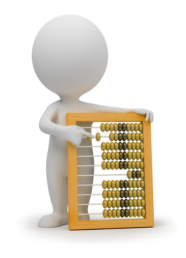3d small people - abacus royalty free illustration