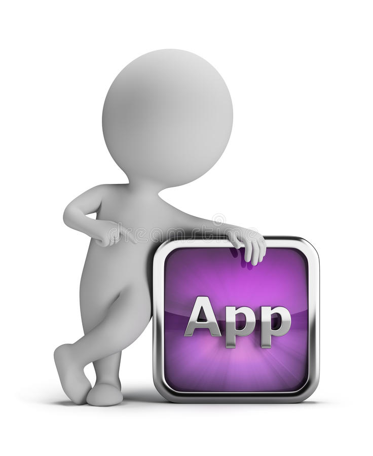 3d small people - app icon. 3d small person standing next to an application icon. 3d image. White background