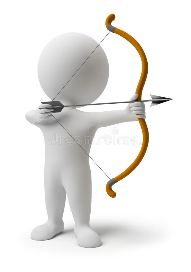 3d small people - archery stock illustration