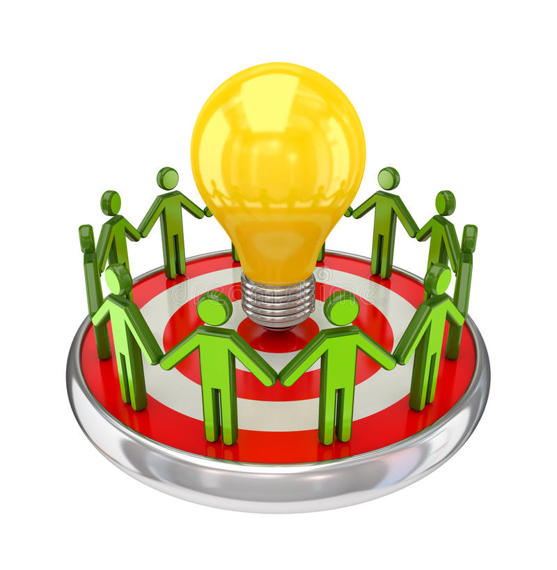 Download 3d Small People Around A Lamp. Stock Illustration - Illustration: 23554375
