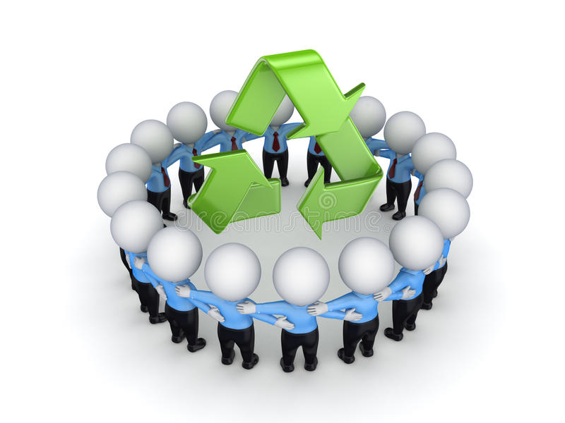 3d small people around recycle symbol. stock illustration