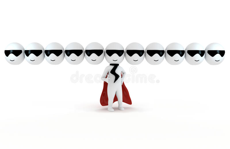 3d small people as super hero vector illustration