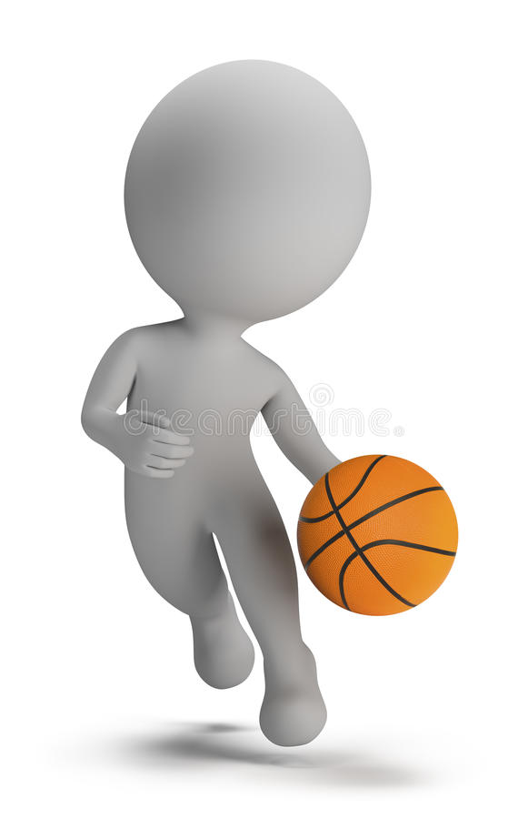 3d small people - basketball player royalty free illustration
