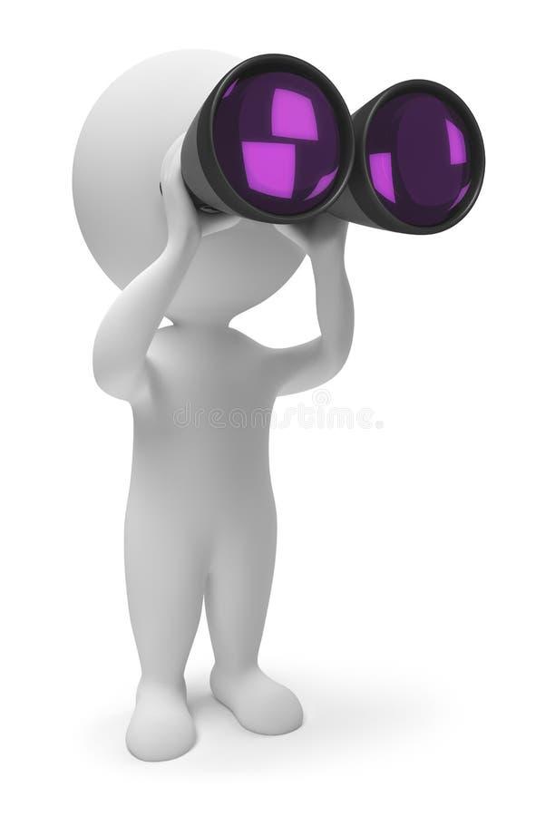 3d small people - binoculars royalty free illustration