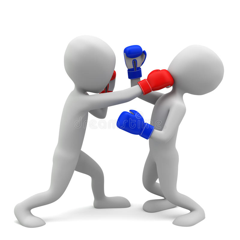 3d small people boxing. 3d image. On a white background.  royalty free illustration