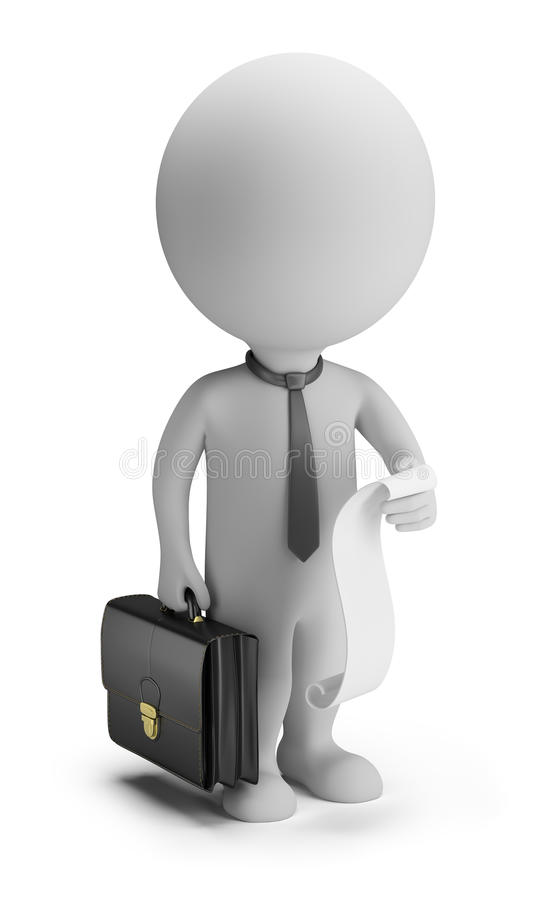 3d Small People - Businessman With A List Of Cases Royalty Free Stock Photos