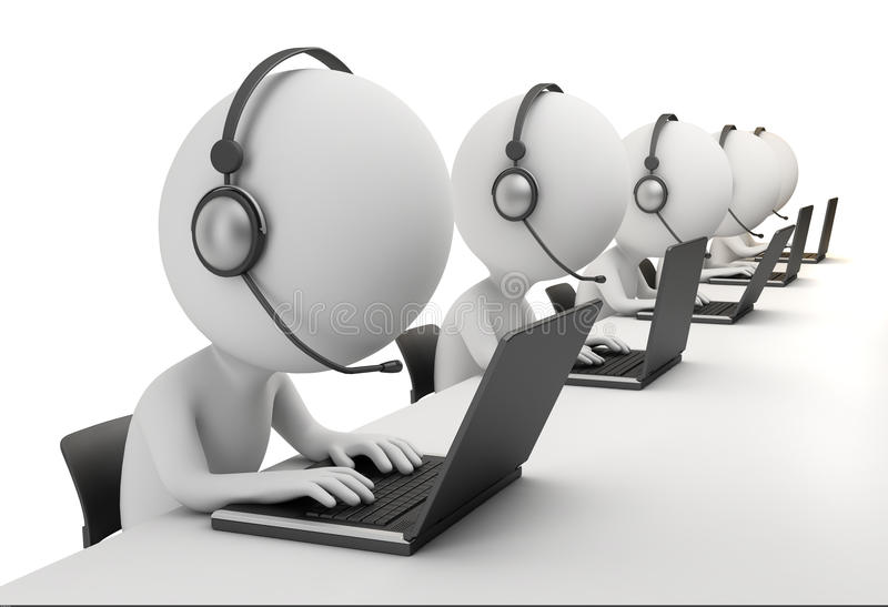 3d small people - call center. 3d small person - operators sitting at laptops in ear-phones with a microphone. 3d image. Isolated white background