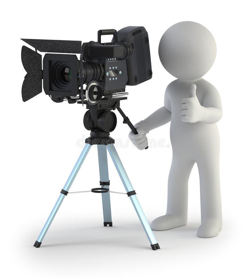 3d small people - Cameraman vector illustration