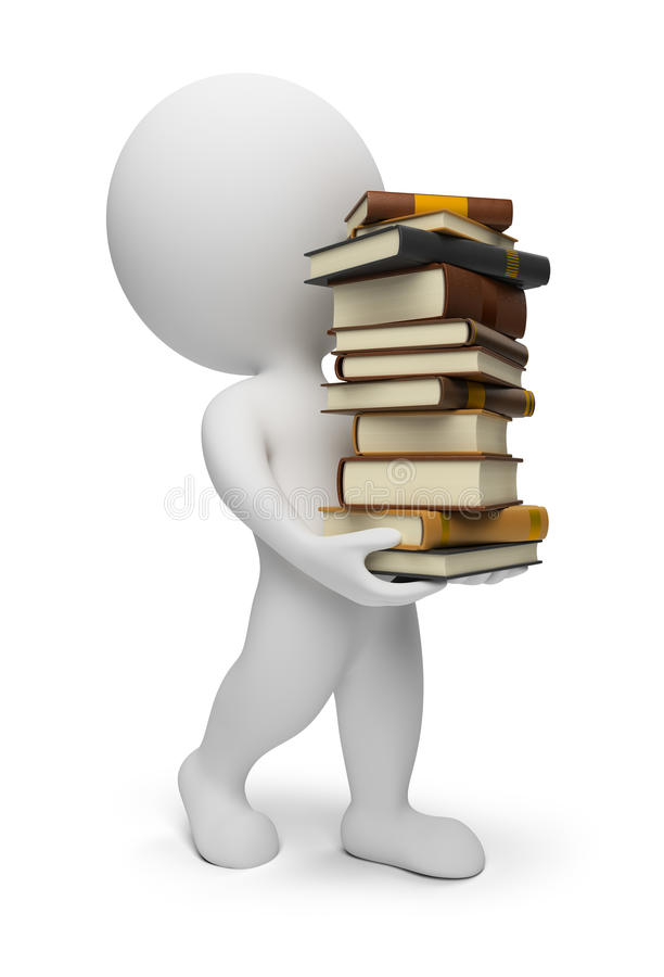 3d small people - carrying books royalty free illustration
