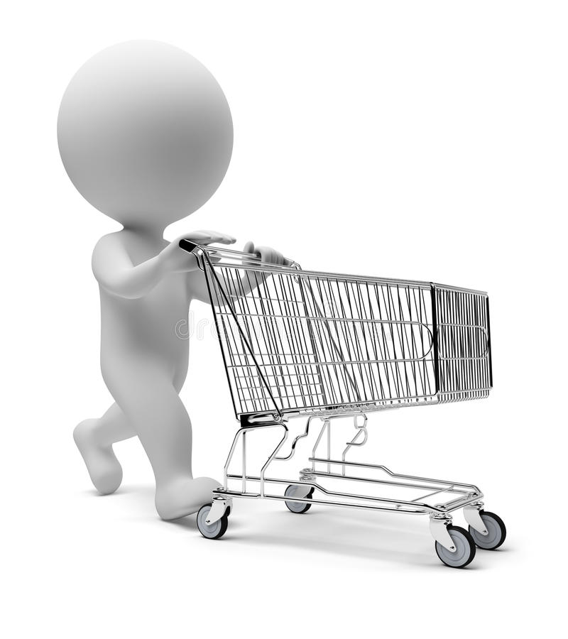 3d small people - cart. 3d small people with a store cart. 3d image. Isolated white background royalty free illustration