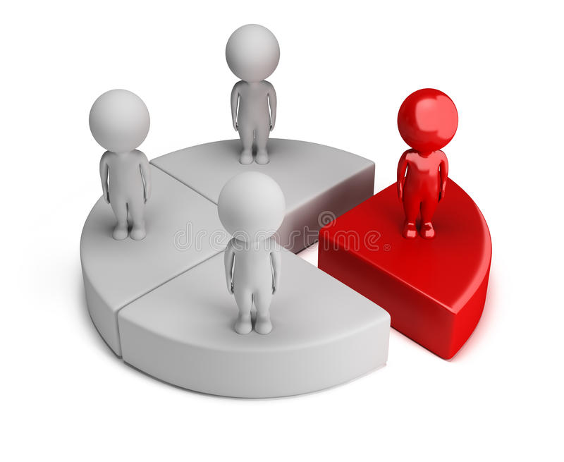 3d small people - chart. 3d small people standing on the chart. 3d image. White background stock illustration