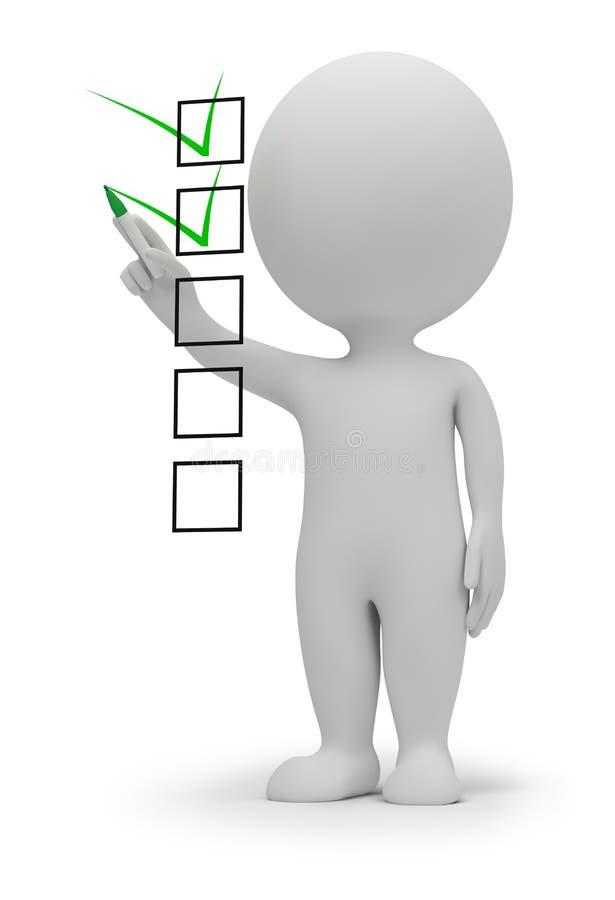 3d small people - checklist stock illustration