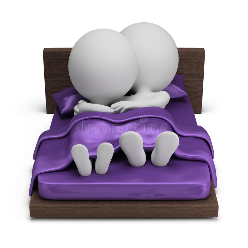 3d small people - couple in bed stock illustration