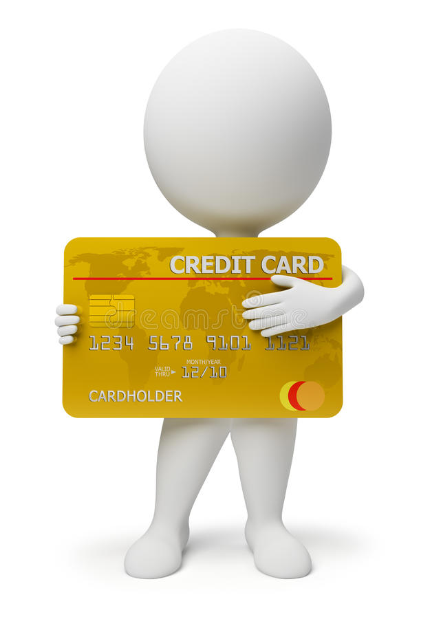 3d small people - credit card. 3d small people with a credit card in hands. 3d image. Isolated white background