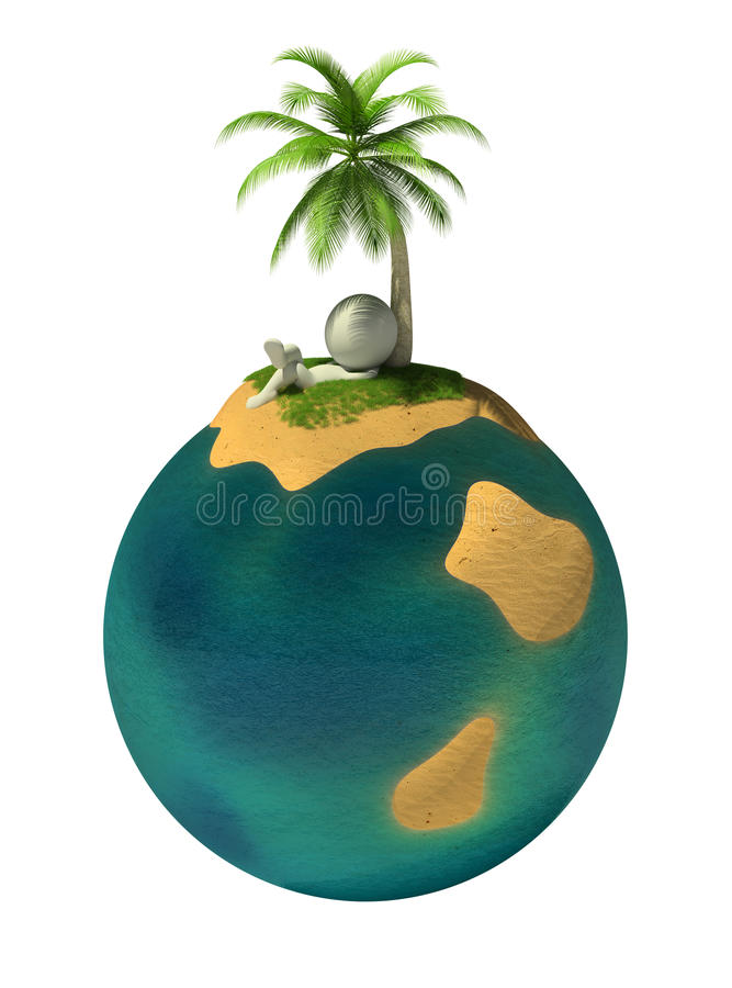 3d small people - desert island vector illustration