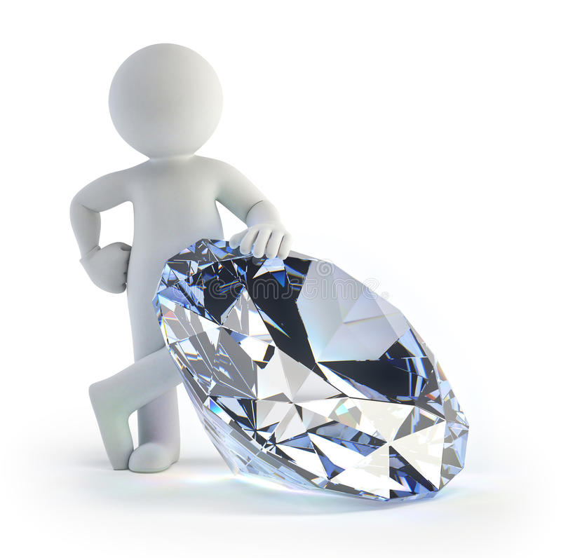 3d small people - diamond royalty free illustration