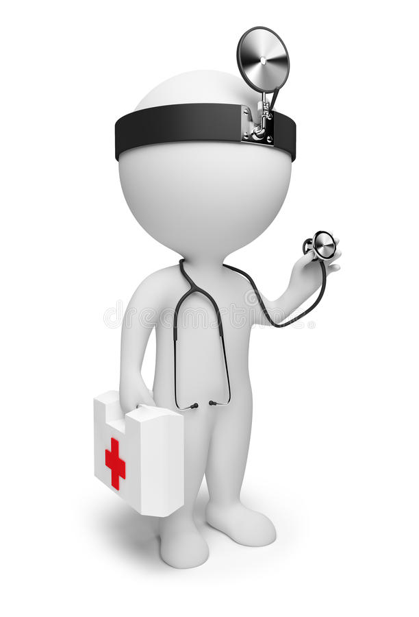 3d small people - doctor vector illustration