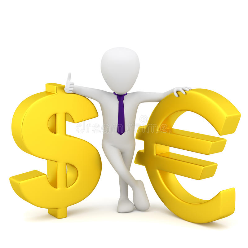 3d Small People Dollar Sign And Euro Stock Illustration
