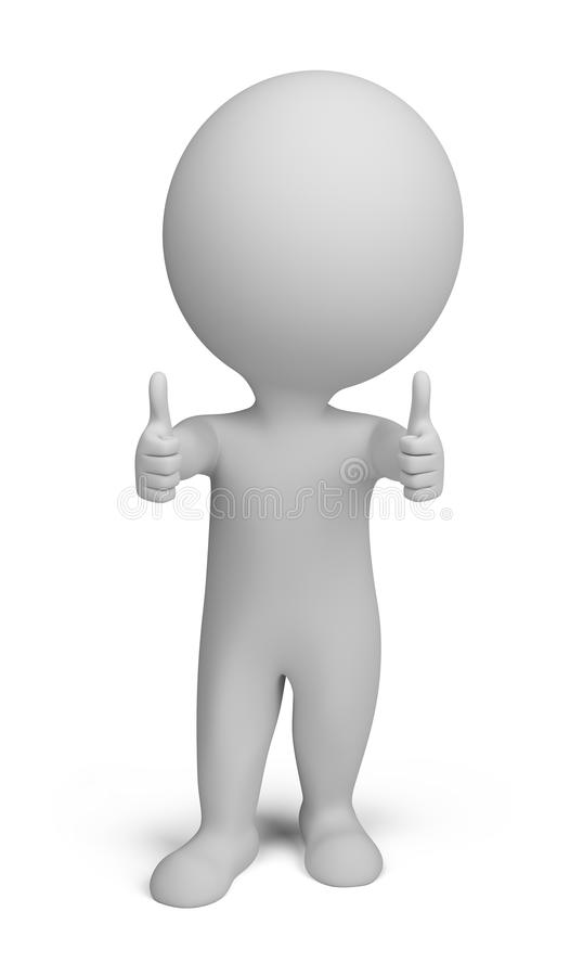 3d small people - double thumbs up stock illustration