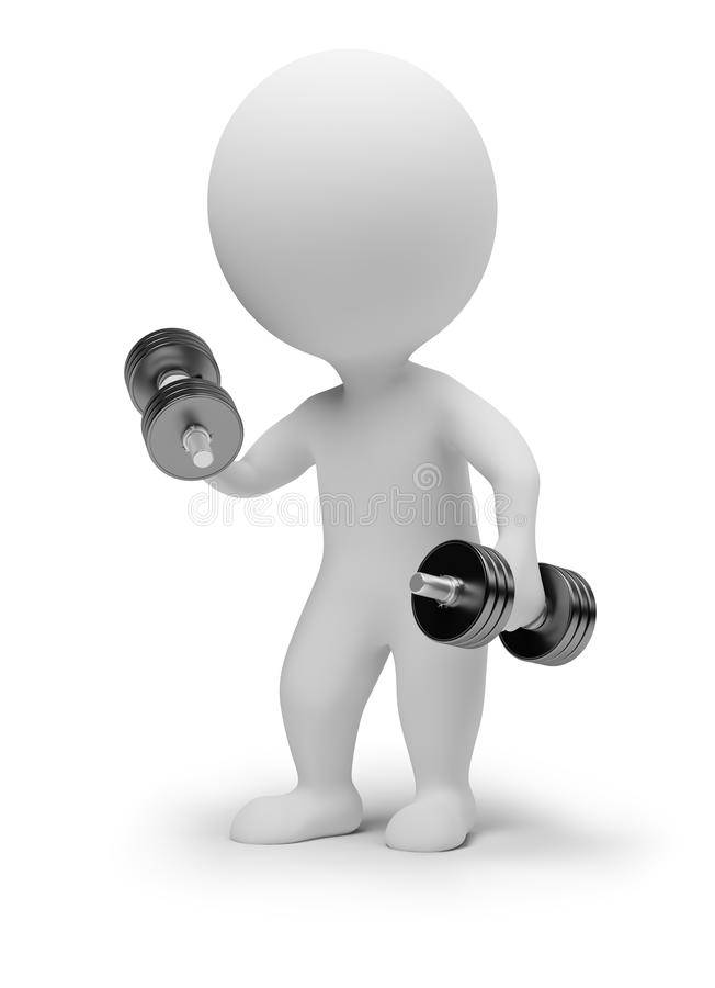 3d small people - dumbbells. 3d small people with dumbbells. 3d image. Isolated white background royalty free illustration
