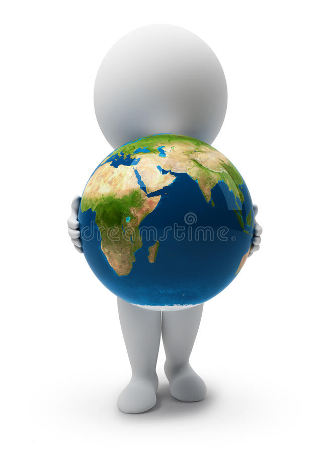 3d small people-Earth. 3d small people with a planet the Earth. 3d image. Isolated white background royalty free illustration