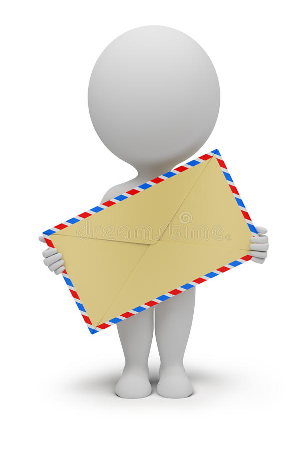 3d small people - envelope vector illustration