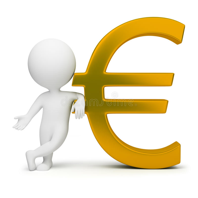 3d small people - euro sign. 3d small people with a gold euro sign. 3d image. Isolated white background