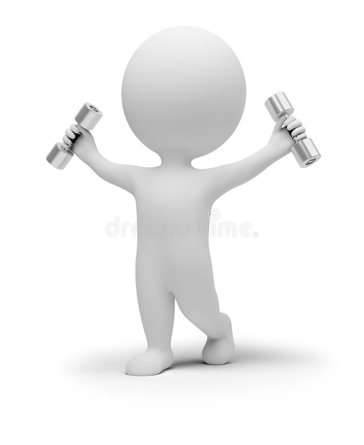 3d small people exercises with dumbbells. 3d small people does gymnastics with dumbbells. 3d image. Isolated white background royalty free illustration
