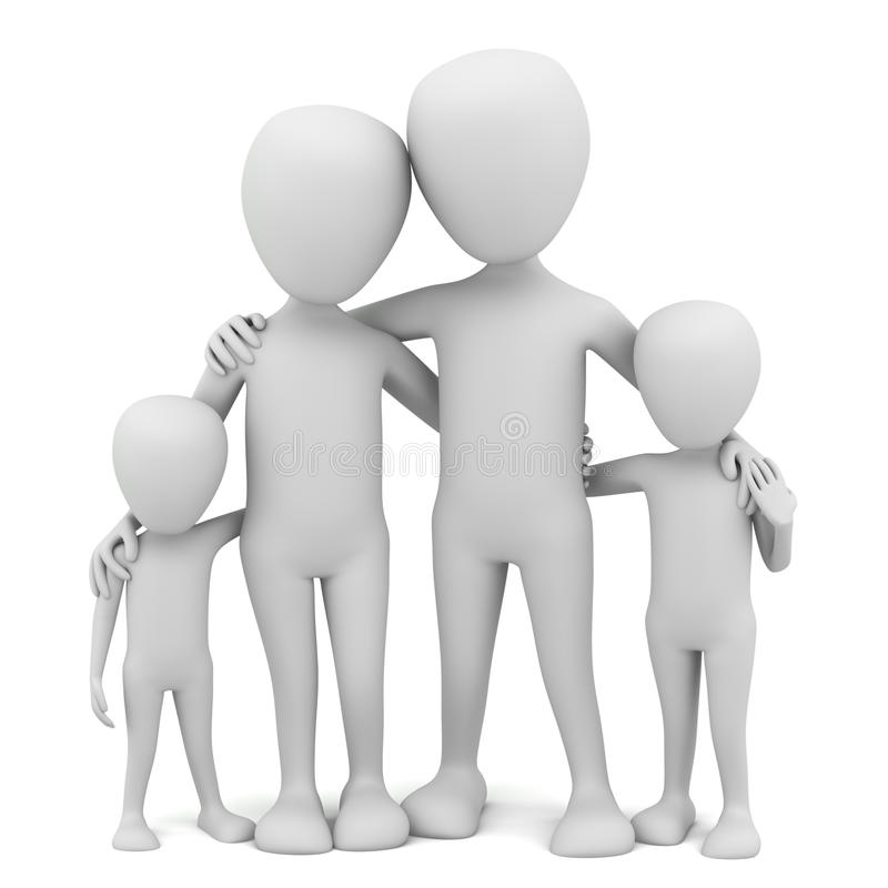3d small people - family. stock illustration