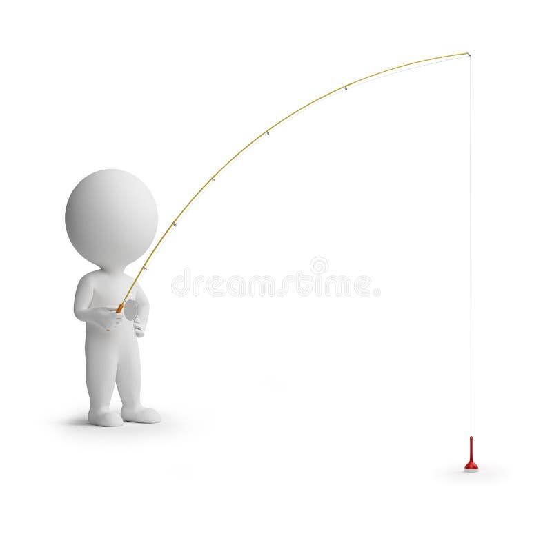 3d small people - fishing stock illustration