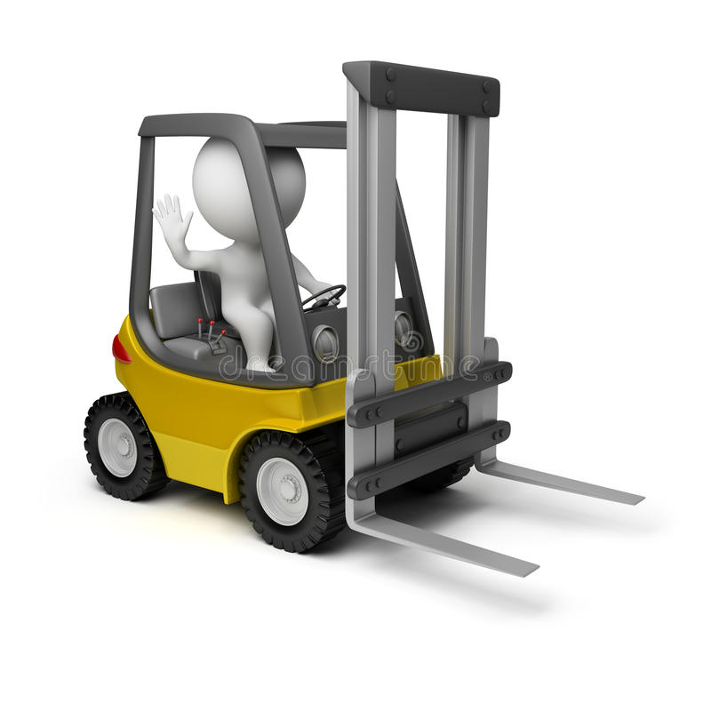 3d small people - forklift vector illustration