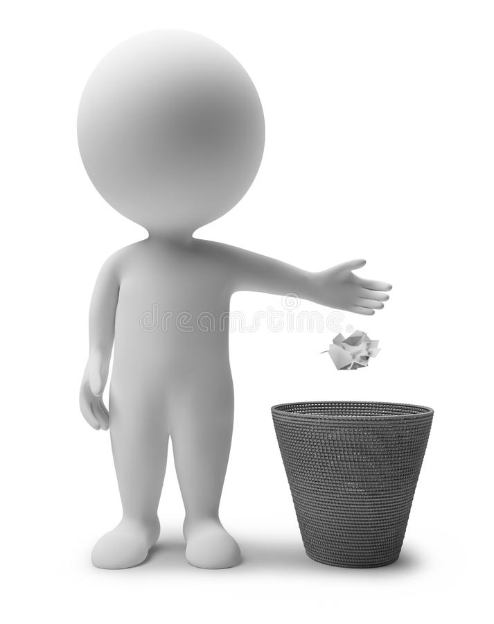 3d small people - garbage basket. 3d small people throwing dust in a garbage basket. 3d image. Isolated white background vector illustration