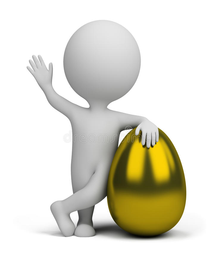 3d small people - golden egg vector illustration