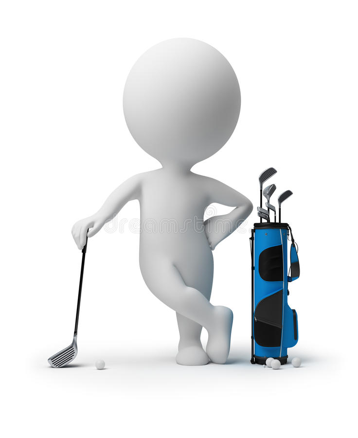 3d small people - golf vector illustration