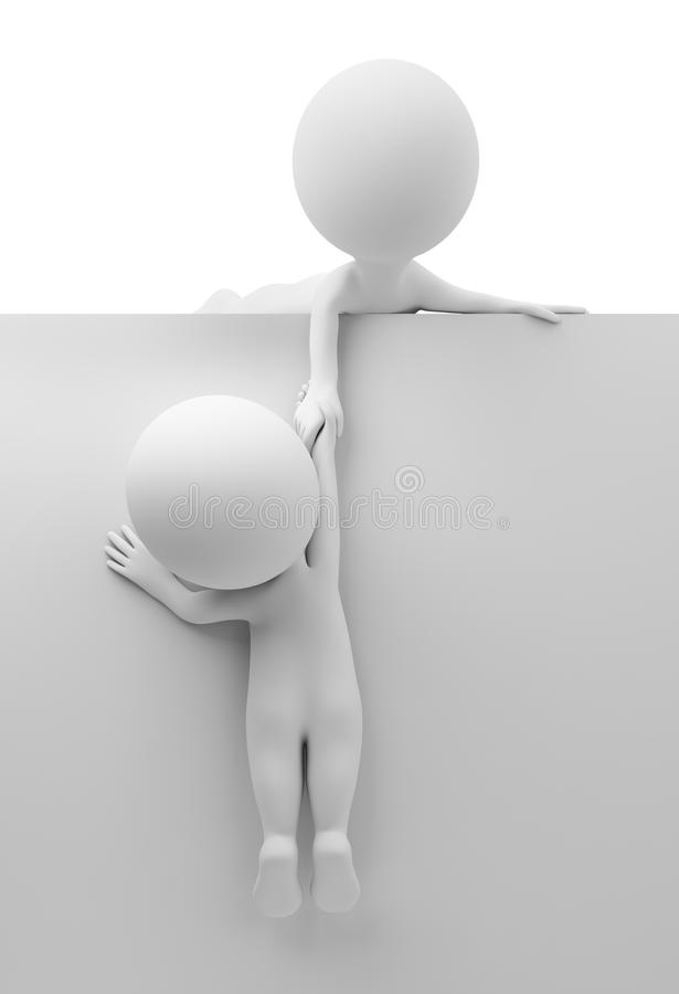 3d small people - help to the friend royalty free illustration