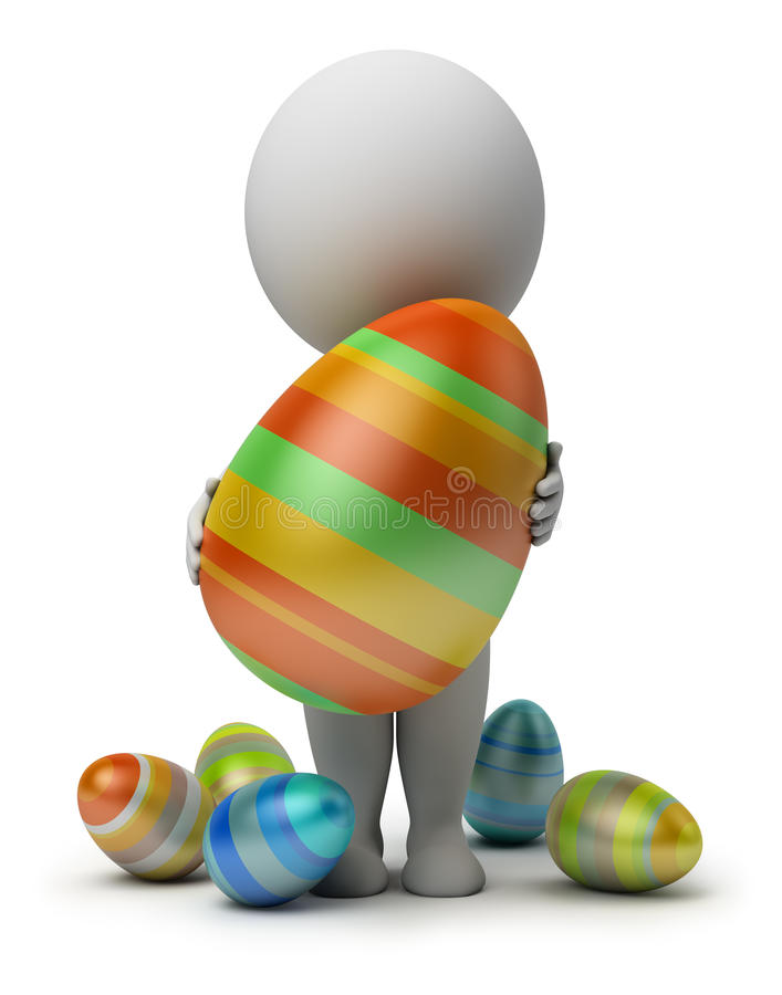 Download 3d Small People - Holds An Easter Egg Stock Illustration - Illustration: 18783017