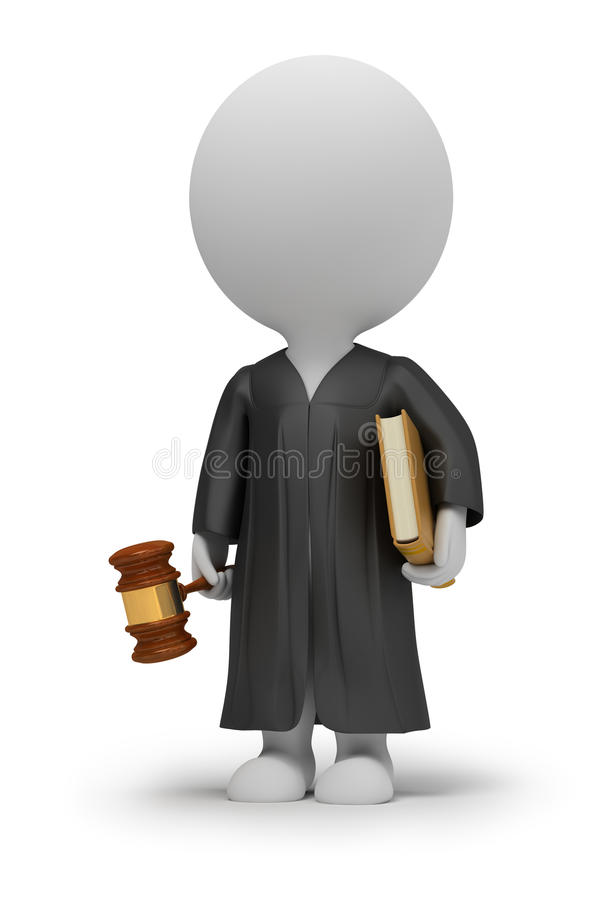 3d small people - judge vector illustration