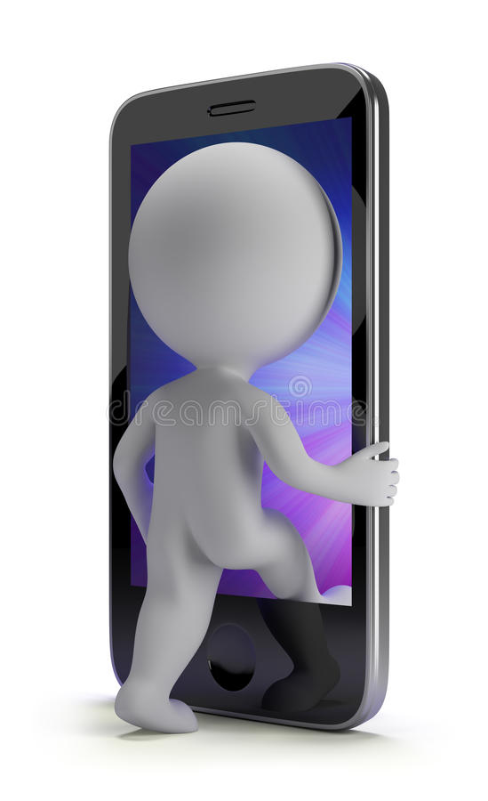 3d small people - login to your phone. 3d small person login to your phone. 3d image. White background royalty free illustration