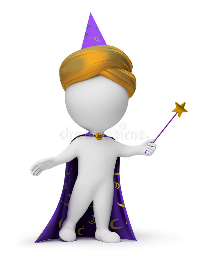 3d small people - magician royalty free illustration