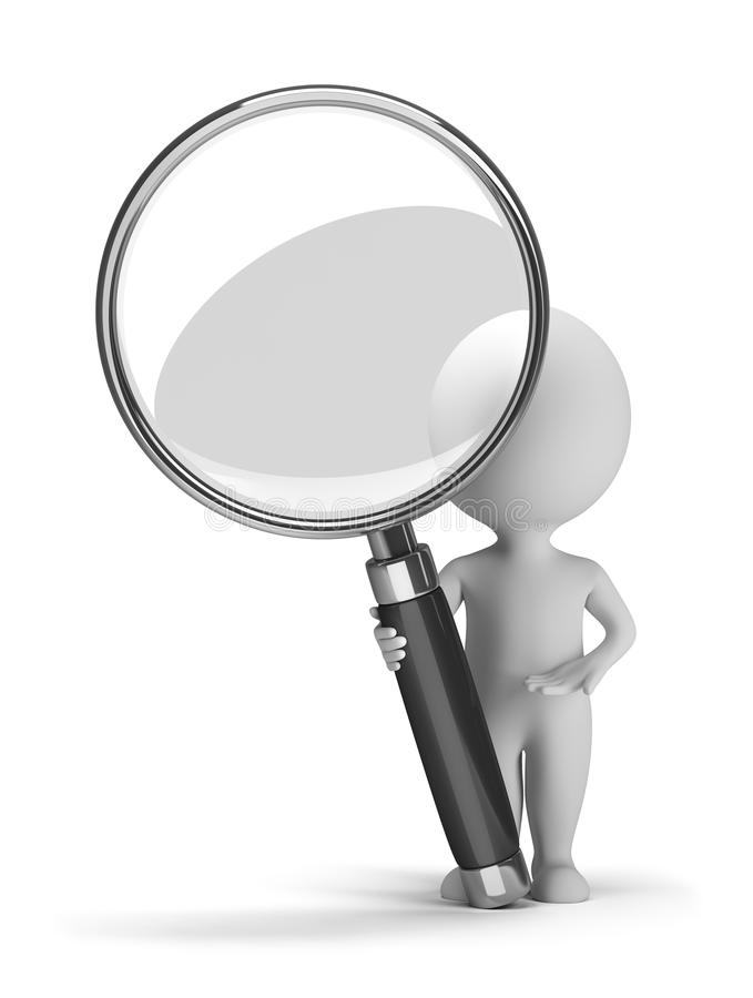 3d small people with a magnifying glass royalty free illustration
