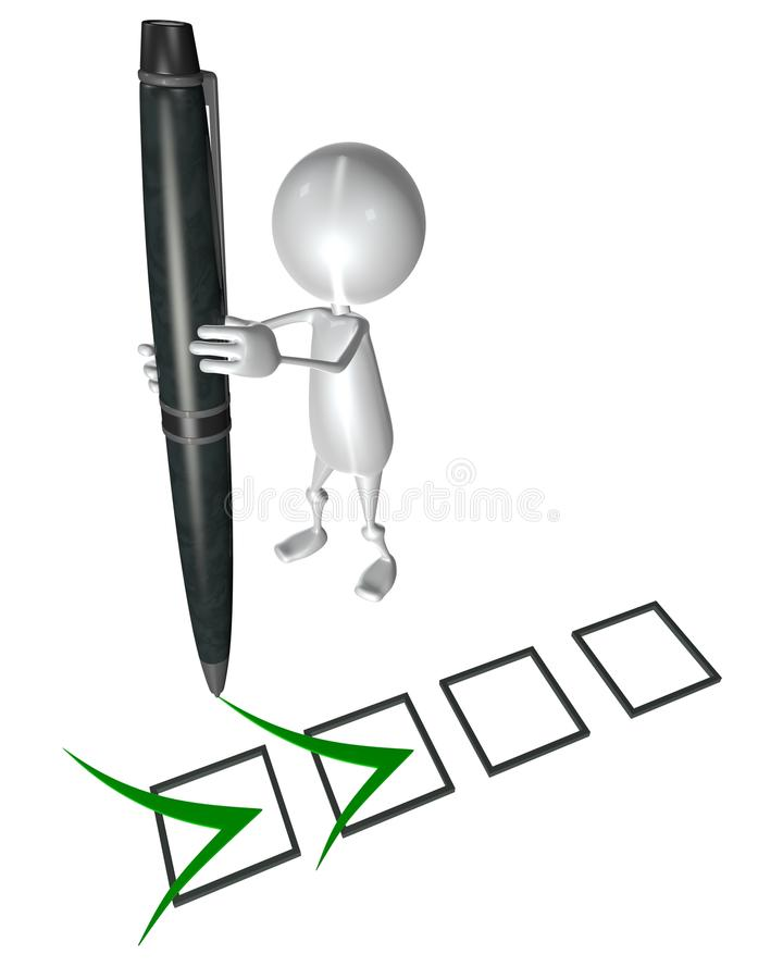 3d small people marking ticks in the checklist stock illustration