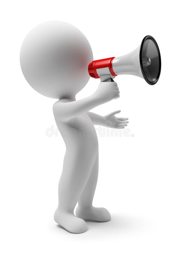 Free 3d Small People - Megaphone Royalty Free Stock Photos - 12936688