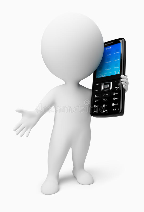 3d small people - mobile phone vector illustration