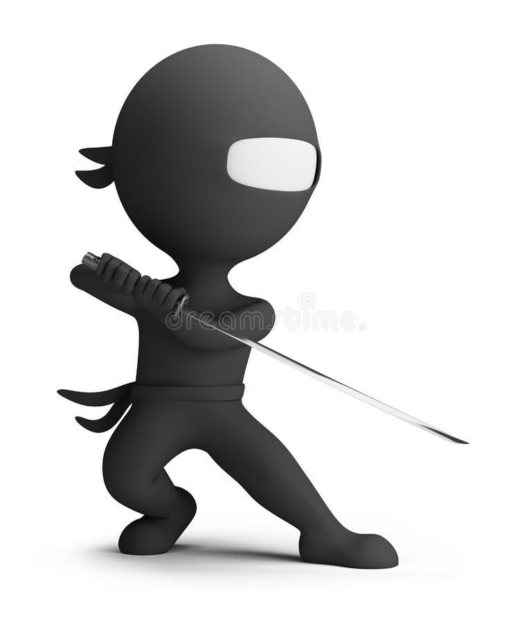 3d small people - ninja vector illustration