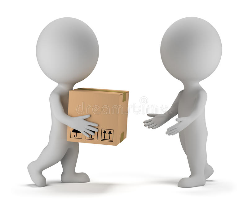 3d small people - parcel delivery royalty free illustration