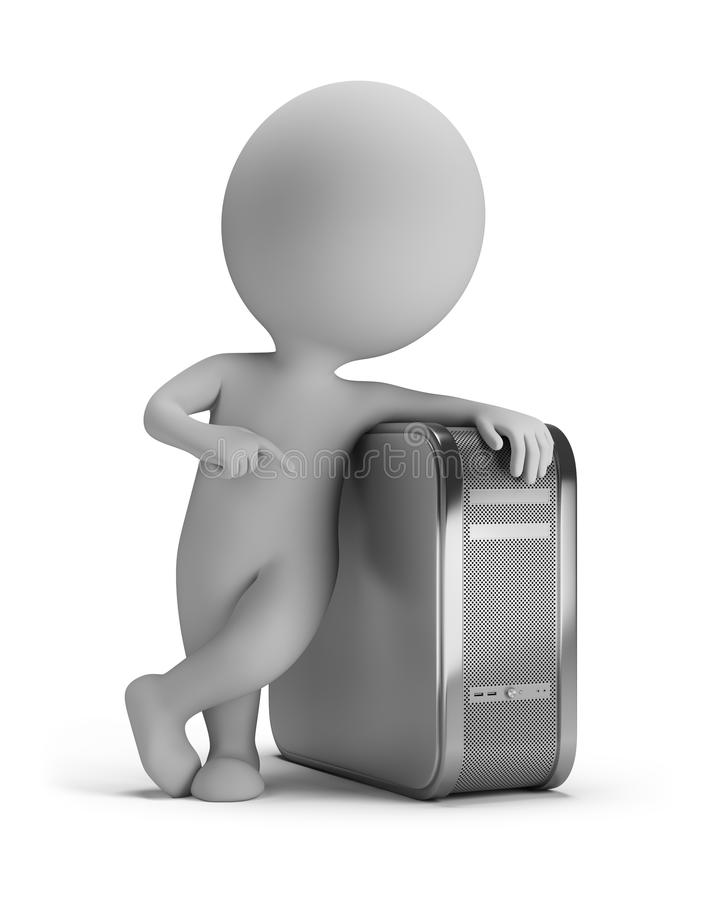 3d small people - PC. 3d small person standing next to the computer. 3d image. White background stock illustration
